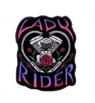 lady rider with engine biker patch