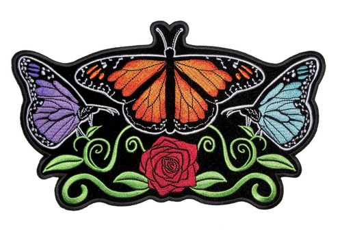 colorful butterflies and rose patch