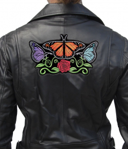 colorful butterflies biker patch