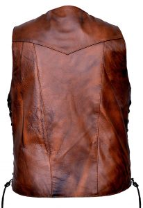 Brown leather vest with removable gun holster