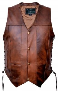 Men's 10 pocket concealed carry brown leather vest with side laces