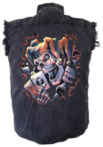 skeleton jester denim biker shirt