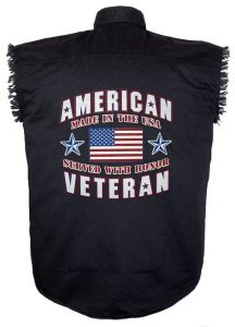 american veteran black twill biker shirt