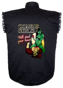 sexy zombie girl black twill biker shirt