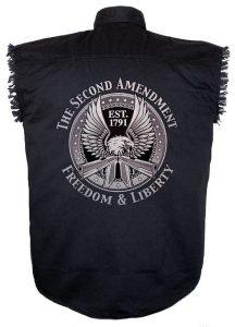 second amendment black twill biker shirt