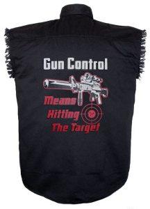 gun control black twill biker shirt