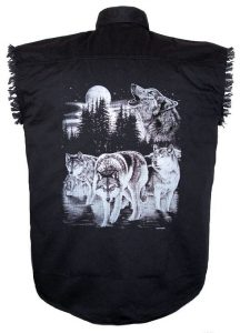 howling wolves black twill biker shirt