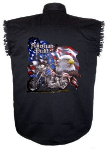 american pride eagle black twill shirt