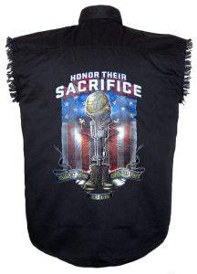 fallen heroes patriotic black twill biker shirt