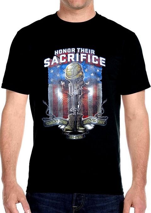 honor their sacrifice patriotic black t-shirt