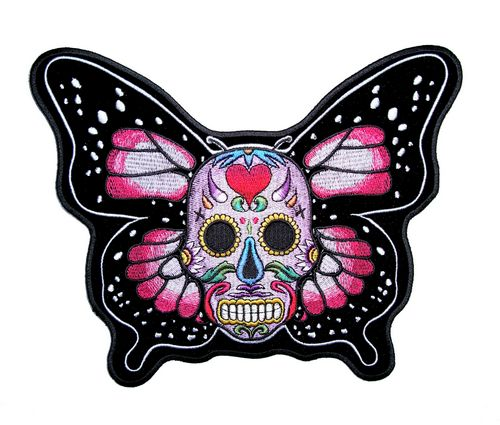 sugar skull butterfly biker patch