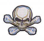 blue and white skull and crossbones biker patch