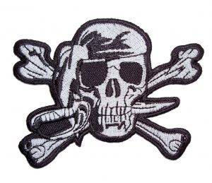 pirate skull biker patch