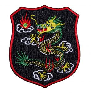 Chinese dragon shield biker patch