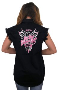 2018 daytona beach bike week pink eagle denim shirt
