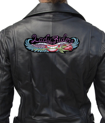 lady rider lips and rose biker patch