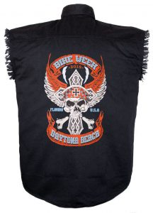 2018 daytona beach bike week skull black denim shirt