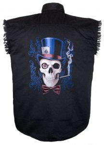 skull wearing top hat and playing cards aces