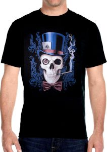skull wearing top hat and playing cards