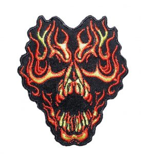 skull coming out of flames biker patch