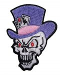 skull with top hat and playing cards biker patch