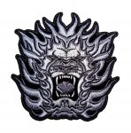 silver tribal lion and flames biker patch