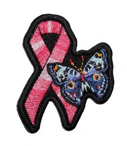 breast cancer butterfly pink ribbon ladies biker patch