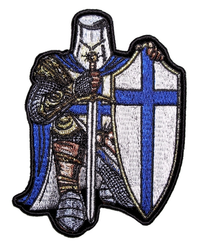 blue and white christian crusader biker patch