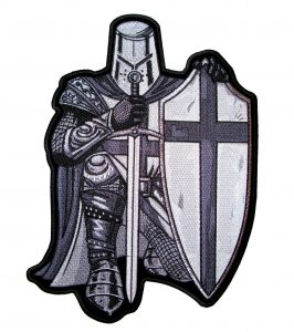 christian crusader with sword and shield