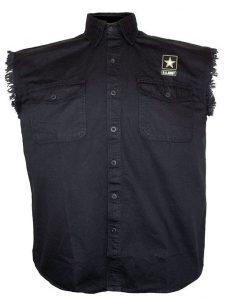 mens army black twill biker shirt