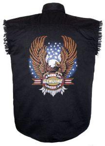 mens American genuine bald eagle black twill biker shirt
