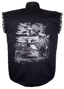 mens mallard ducks black twill biker shirt