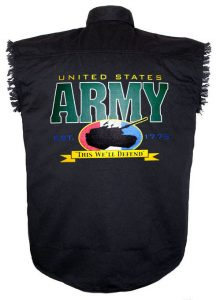 mens united states army black twill biker shirt