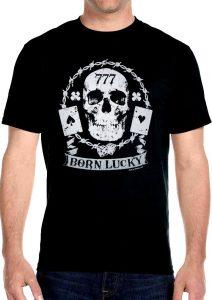 mens born lucky skull t-shirt