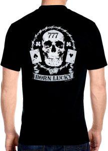 skull born lucky playing cards biker t-shirt
