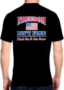 freedom isn't free patriotic biker t-shirt