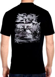 mens mallard duck biker t-shirt