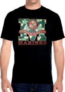 marines semper fidelis marines corp logo bike t-shirt