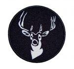 black and white deer biker patch