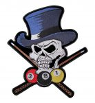 billiards skull wearing top hat biker patch