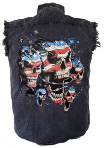 Denim biker shirt with American flag skulls