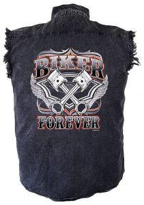 mens denim biker forever cutoff biker shirt