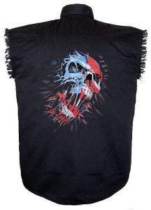 mens black twill patriotic skull biker shirt