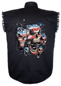 mens black twill patriotic skulls cutoff biker shirt