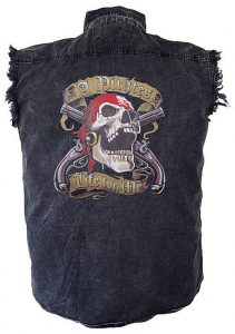 mens denim pirate skull cutoff biker shirt