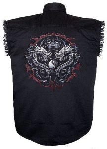 mens black twill tiger and dragon cutoff biker shirt