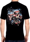 mens patriotic skulls with chains biker t-shirt