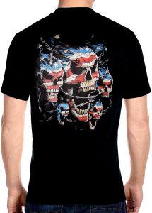 mens patriotic skulls with chains biker t-shirt