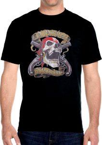 mens pirate skull biker t-shirt