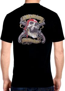 mens pirate skull biker t-shirt